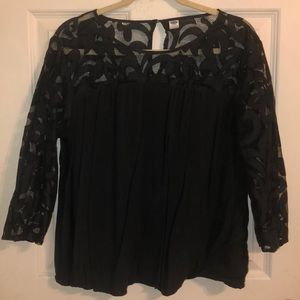 Dark gray blouse with lace sleeves